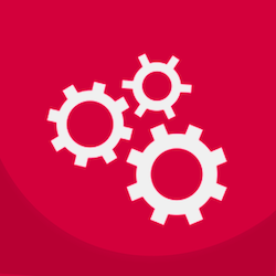 Three gears on a red background symbolizing the API